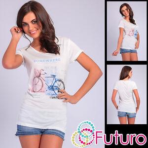 Casual-T-shirt-Somewhere-stampa-manica-corta-girocollo-tunica-taglia-8-12-FB103