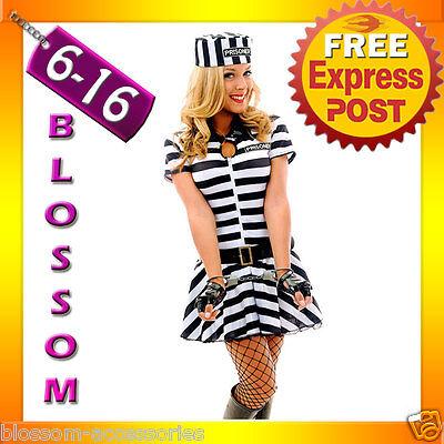 F80 Ladies Prisoner Jail Bird Convict Outfit Fancy Dress Halloween Costume & Hat