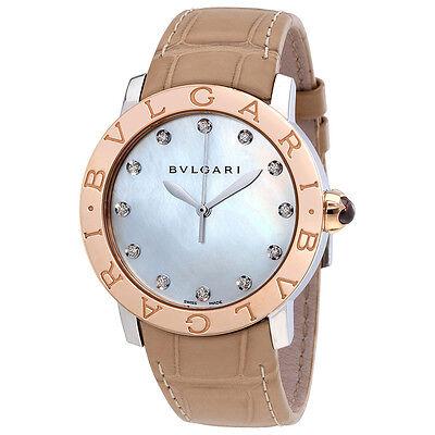 Bvlgari BVLGARI White Mother of Pearl Diamond Dial 37mm Automatic Ladies Watch