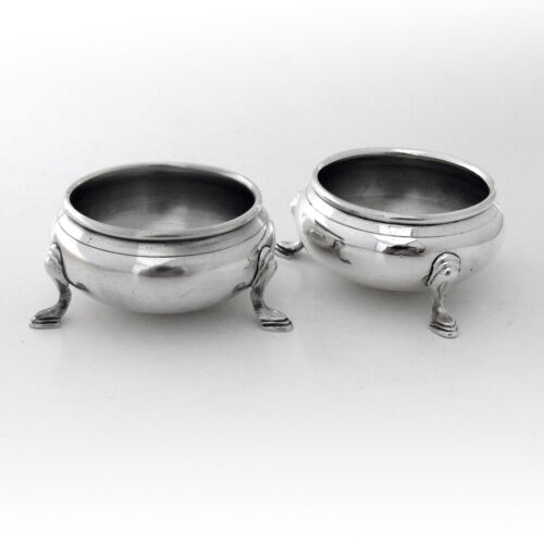 Open Salt Dishes Pair Ellmore Sterling Silver Cobalt Glass Liners