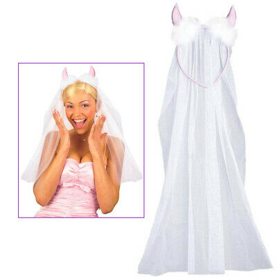 HAARREIF & BRAUT SCHLEIER & TEUFEL HÖRNER Karneval Party JGA Kostüm Damen (Teufels Braut Kostüm)