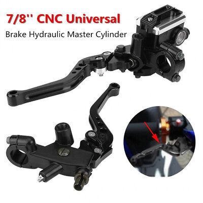 Pair CNC Universal Motorcycle 7/8'' Brake Master Cylinder Clutch Lever Reservoir