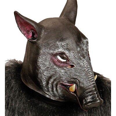 LATEX WILDSCHWEIN MASKE # Wildschweinmaske Schweinemaske Kostüm Party Deko 96644 ()
