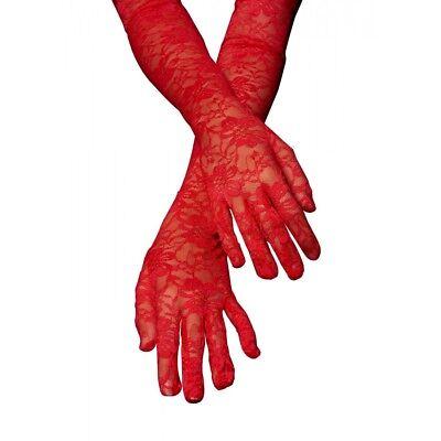 Elegant Red Lace Dress Gloves Soft Extra Soft Elbow Length Gloves (Red Dress Gloves)