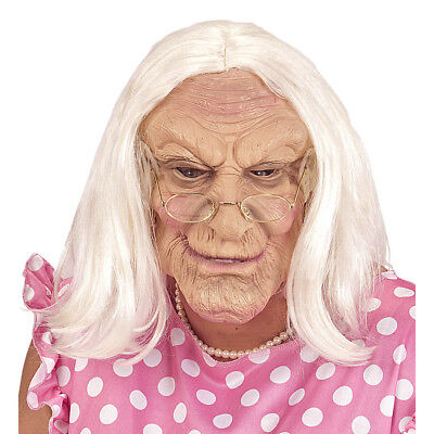 OMA LATEX MASKE MIT HAAR Halloween Alte Frau Greisin Perücke Kostüm Party 02115