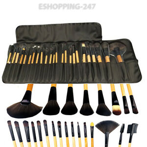 Wooden-Soft-Bristle-Brushes-Set-Carry-Pouch-24x-Professional-Cosmetic-Make-Up