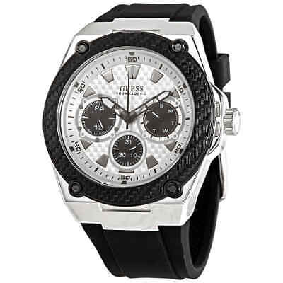 Guess Legacy Quartz White Dial Black Rubber Men's Watch W1049G3