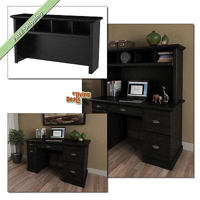 Computer Desk With Storage Home Office Furniture Wood Desks Or Hutch Black