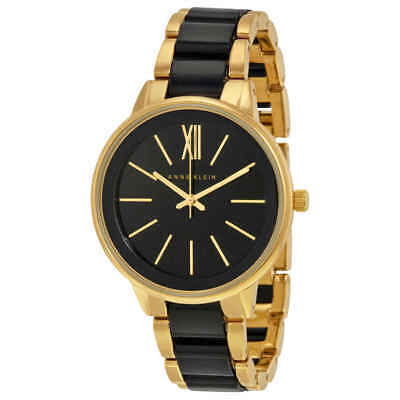 Anne Klein Black Dial Gold-tone and Black Resin Ladies Watch 1412BKGB