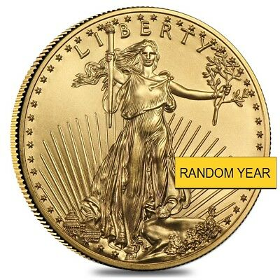 1/2 oz Gold American Eagle $25 Coin BU (Random Year)