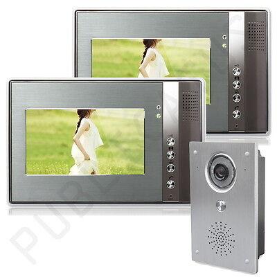 """Farb Video Gegensprechanlage Türsprechanlage 2 x 7"""" Monitor Klingel Sprechanlage"""