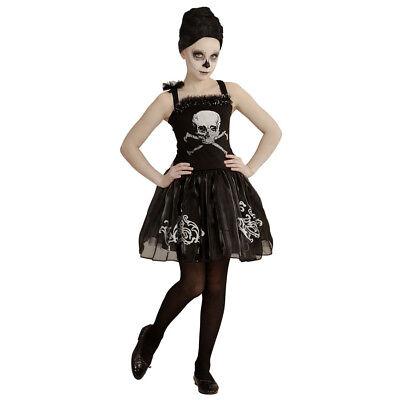 SKELETT KOSTÜM KINDER Halloween Totenkopf Zombie Kleid Mädchen 128-158 # 0547