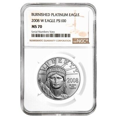 2008 W 1 oz $100 Burnished Platinum American Eagle Coin NGC MS 70