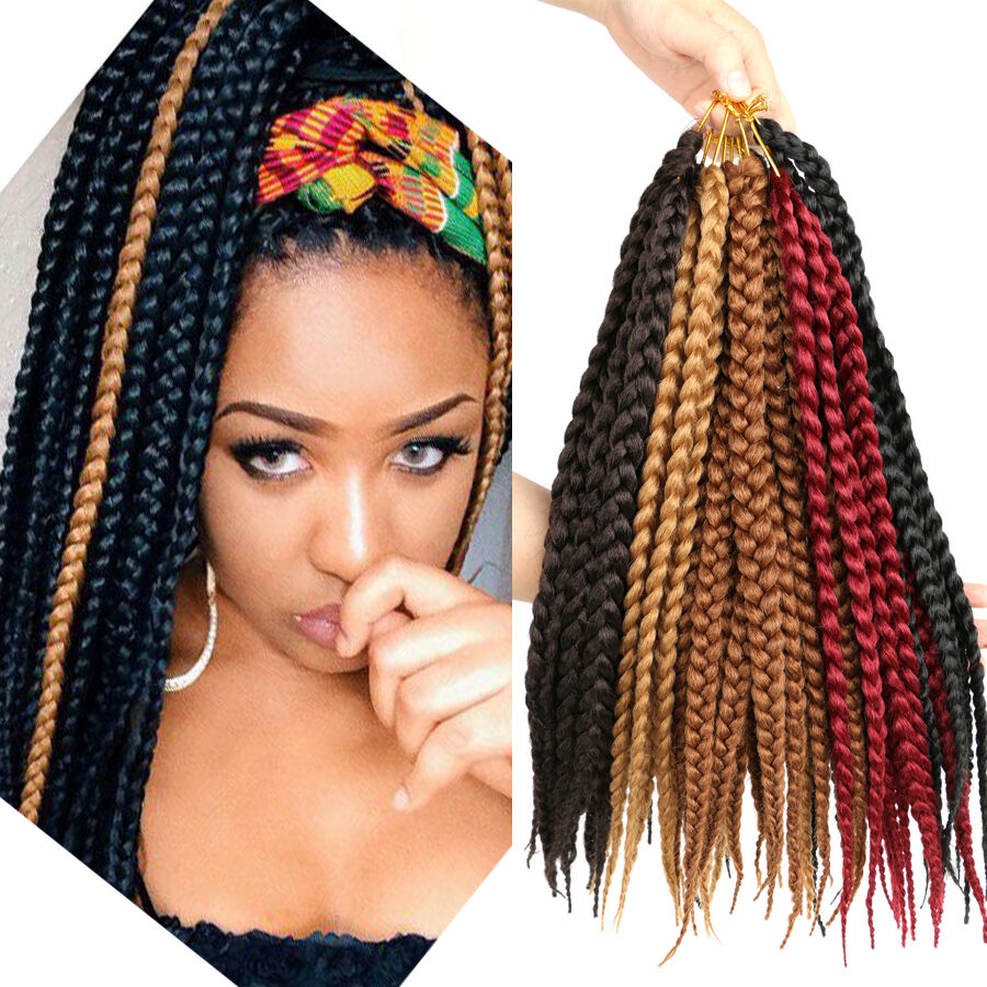 Pretwist 3s BOX Braids 14u0026quot; Synthetic Crochet Box Braids Hair Extension 5 Colors | eBay