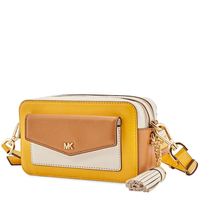 4dafbbbfc433a1 Michael Kors Small Tri-Color Leather Camera Bag- Jasmine Yellow/Multi
