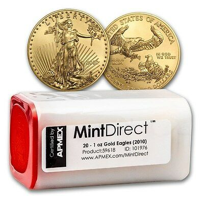 Click now to see the BUY IT NOW Price! 2010 1 OZ GOLD AMERICAN EAGLE 20 COIN MINTDIRECT TUBE   SKU  59618