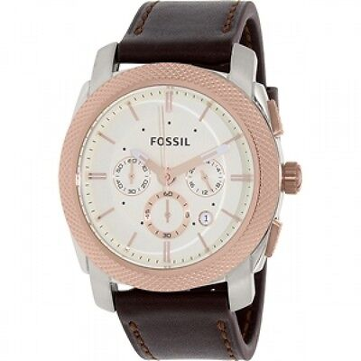 Fossil Men's Machine Silver Dial Leather Strap Chronograph Watch FS5040