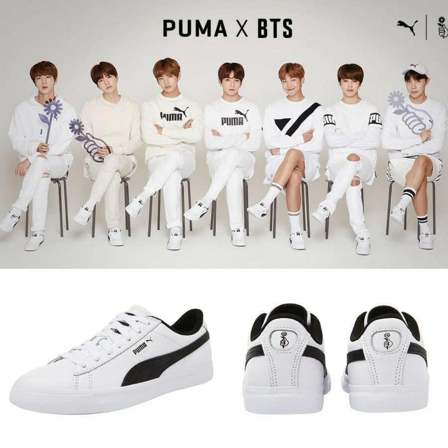 07da3218755885 BTS X PUMA Court Star Shoes Sneakers Bangtan Boys White 366202 01 Limited.    Limited quantity  . black