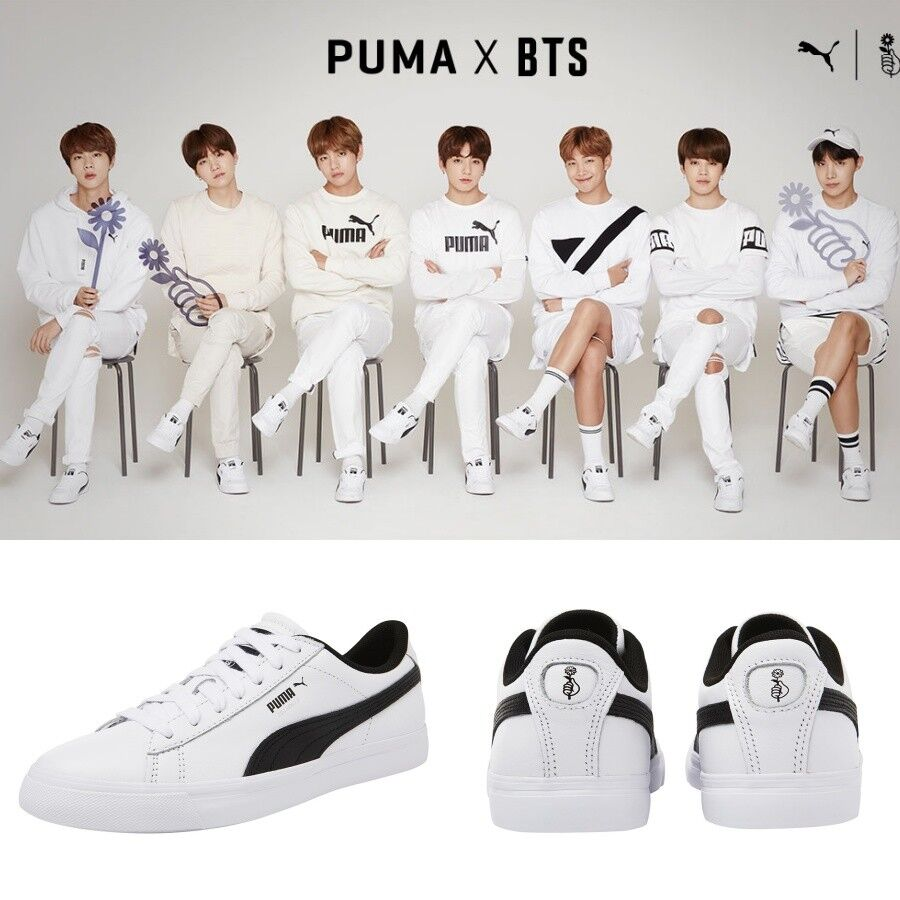 wholesale dealer 56afa 1c248 Details about BTS X PUMA Court Star Shoes Sneakers Bangtan Boys White  366202 01 Limited