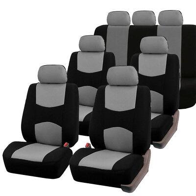 7 Sitze Autositzbezüge 3 Reihe für Auto SUV VAN MPV Grau / Schwarz Universal NEU (Suv Sitzbezüge)