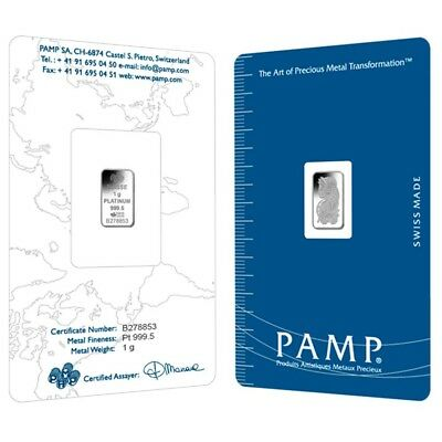 1 gram PAMP Suisse Lady Fortuna Platinum Bar .9995 Fine (In Assay)