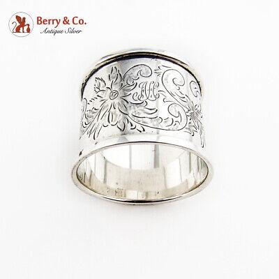 Vintage Engraved Floral Napkin Ring Sterling Silver Monogram