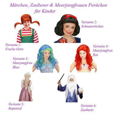 MÄRCEN ZAUBERER MEERJUNGFRAU RAPUNZEL PERÜCKE KINDER Karneval Nixe Kostüm P13