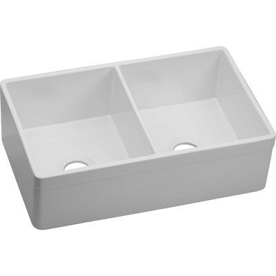 (NEW: ELKAY SWUF32189WH Apron-Front Double-Bowl FIRECLAY KITCHEN-SINK (33x22x9))