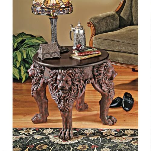 Medieval Antique Replica Majestic Lion Head Side Table