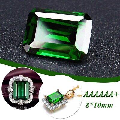 Natural Mined Green Loose Gemstone 8x10mm Emerald Colombia Emerald Cut AAAAAA+