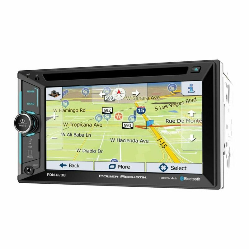"Power Acoustik PDN-623B 6.2"" Double-Din CD/DVD Bluetooth GPS Navigation USB AUX"