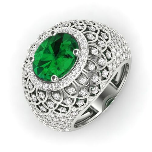 Antique 4.50cts Green Oval Vintage Engagement &Wedding Ring Sterling Silver S925