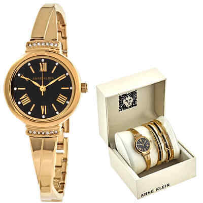 Anne Klein Black Glossy Dial Ladies Watch and Bracelet Set AK-3414BKST