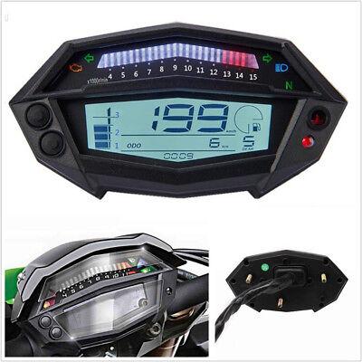 12V LCD DIGITAL MOTORCYCLE SPEEDOMETER ODOMETER FUEL LEVEL GAUGE WHITE