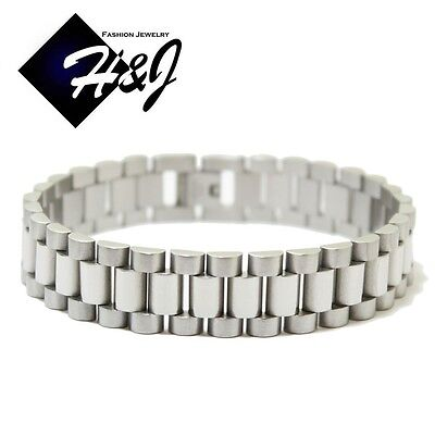 "8""MEN's Stainless Steel 15mm Silver Watch Band Link Chain Bracelet"
