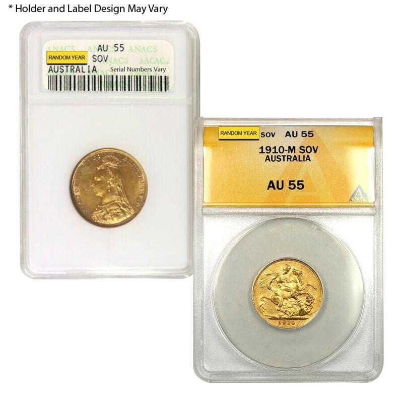 Gold Sovereign Coin ANACS AU 55 (Random Year)