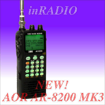 AOR AR-8200 MK3 UNBLOCKED 530kHz-3GHz Wideband Receiver Scanner UNLOCKED AR8200