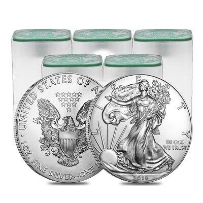 Sale Price   Lot Of 100   2018 1 Oz Silver American Eagle Bu  5 Roll Tube Of 20