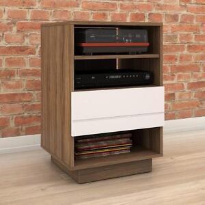 Nexera 105242 Sequence 1-Drawer Audio Cabinet, Walnut & White NEW