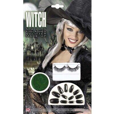 rün schwarz Nägel Wimpern Glitter Schminke Kostüm Party 4228 (Glitter Hexe)