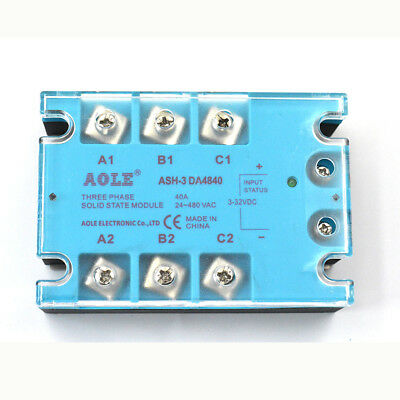 Ash-3-da4840 Three Phase Solid State Relay Module Dc To Ac 3-32vdc To 480vac 40a