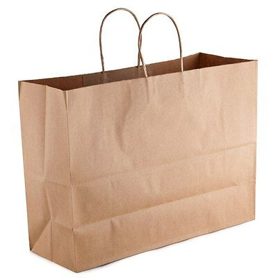 50 count Paper Retail / Shopping Bag 16x6x12 KRAFT with Rope Handle TOTE
