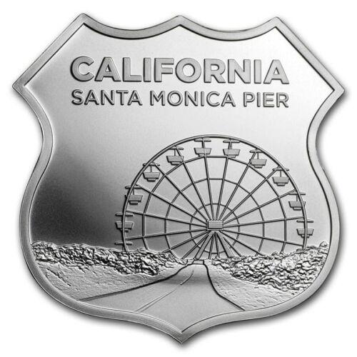 1 Oz Silver California  Route 66 Shield (santa Monica Pier) W/capsule & Pouch