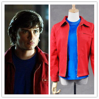 Smallville Superhero Clark Kent Red Daily Jacket Coat Cosplay Costume Customize - Clark Kent Costumes