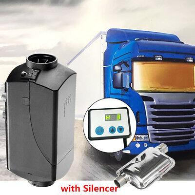 12V 5000W Hot Air Diesel Heater + Silencer 10L Tank Motorhome Truck Boat Tractor