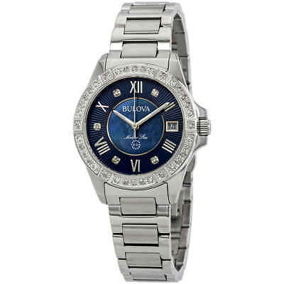 Bulova Marine Star Midnight Blue Mother of Pearl Diamond Dial Ladies Watch