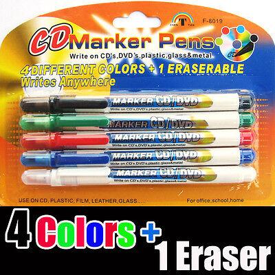 Marker Pens Set 4 Colors 1 Eraser Writes Cd Dvd Plastic Wood Glass Leather Film