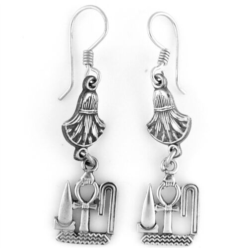 New Egyptian  Ankh of Life  & Lotus Sterling Silver 925 Earrings