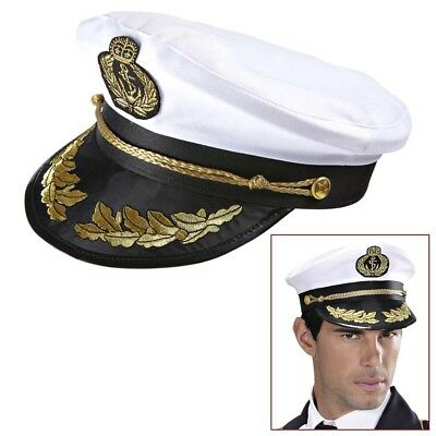 MARINE OFFIZIER MÜTZE # Karneval Seemann Admiral Kapitän Matrose Kostüm Hut 0186