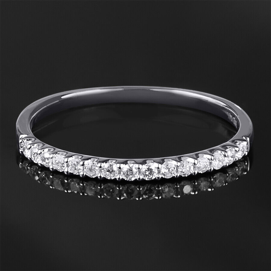 Womens 1/6 CT Stackable Wedding BAND Anniversary RING White Gold Over Silver